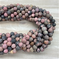 8mm Matte Rhodonite with Matrix