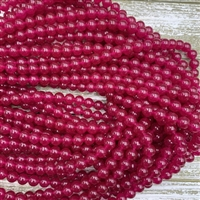 6mm Dyed Magenta Jade Strands