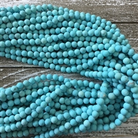 6mm Matte Turquoise Blue Howlite Strands