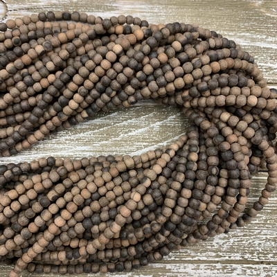 4-5mm Matte Ebony Wood Bead Strands