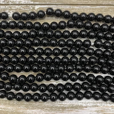 10mm Black Onyx Large Hole Beads - Short Strand