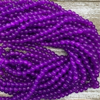 8mm Blue Violet Crackle Glass Bead Strands