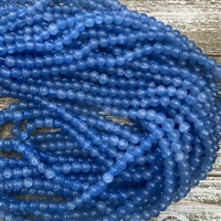 8mm Dodger Blue Crackle Glass Bead Strands