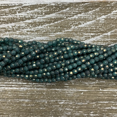3mm Firepolish Opaque Green Turquoise with Bronze