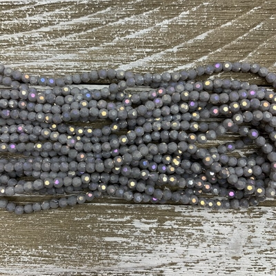 4mm Faceted Light Grey AB Chinese Crystal