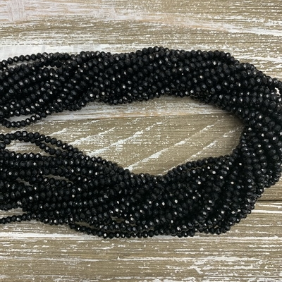 3x2mm Black Faceted Chinese Crystal Strands