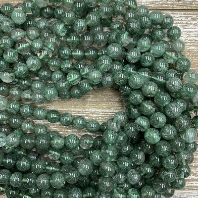 10mm Green Phantom Quartz Strands