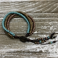 Blue Brown Barrel Knot Wrap Bracelet Kit