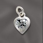 Sterling Silver Heart Charm with Cubic Zirconia