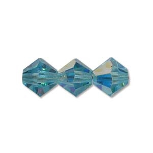 3mm Aqua AB Bicone Strands