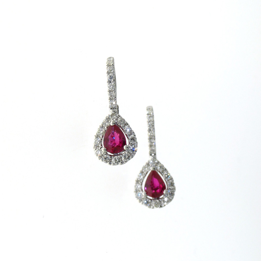 Edc01020 18k White Gold Diamond Ruby Earrings