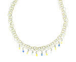 NEC1085 18k White & Yellow Gold Diamond Sapphire Necklace